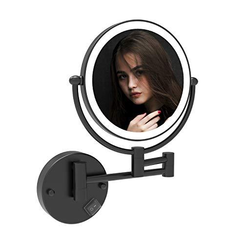 Fixsen - Espejo de maquillaje de 20 cm (20 cm), color negro mate