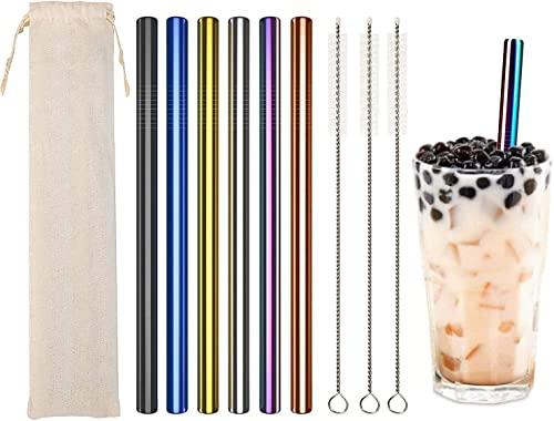 Pajitas reutilizables de metal, pajitas boba de acero inoxidable con cepillo, pajitas extra anchas de 12 mm, pajitas para batido para latte macchiato, leche, frappe