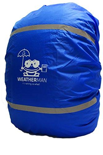Weatherman Regenschutz für Schulranzen und Rucksack, Signalfarbe, mit Gummizug, Regenhülle, Sicherheitsüberzug, Sicherheitshülle, Schutzhülle, Regenschutzhülle (Blau)