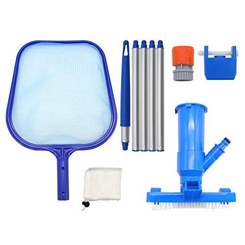 Skystuff Kit de red para aspiradora y piscina con 5 secciones para mantenimiento de la piscina, estanque y limpieza de fuentes