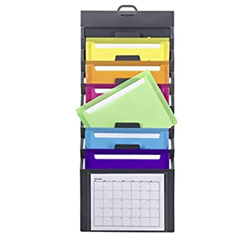 Smead Cascading Wall Organizer 6 Pockets Letter Size Gray/Bright  92060