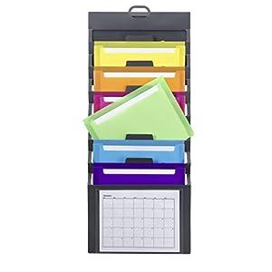 Smead Cascading Wall Organizer, 6 Pockets, Letter Size, Gray/Bright (92060)