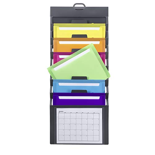 Smead Cascading Wall Organizer 6 Removable Folder Pockets Letter Size Gray with Bright Pockets 92060