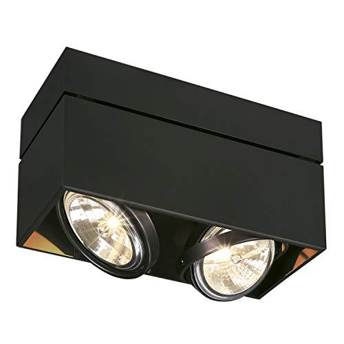 SLV Halogen Deckenlampe KARDAMOD für eine effektvolle Innenbeleuchtung   Dreh- und schwenkbare Deckenleuchte, Decken-Strahler, Spot Innenleuchte   Zweiflammig, Eckig, Schwarz, G53, max 50W, E -A++