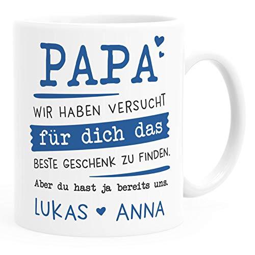 SpecialMe® Tasse personalisiertes Geschenk Spruch Papa/Mama/Oma/Opa Wir habe versucht für dich das beste Geschenk zu finden. anpassbare Namen Papa - 2+ Namen weiß Keramik-Tasse