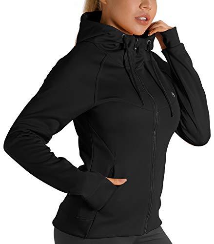 icyzone Damen Sportjacke Laufjacke voll ZipTrainingsjacke mit Kapuze, Fitness Hoodie Langarm Shirt im Winter (M, Schwarz)