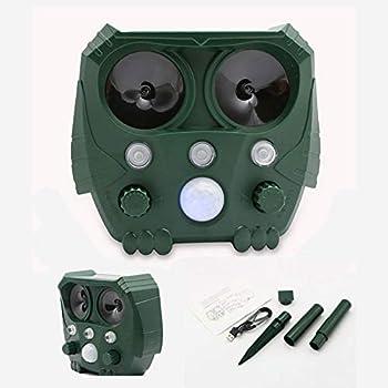 SMLJFO Répulsif à ultrasons pour animaux - Répulsif pour animaux - Répulsif pour chat - Batterie solaire et ajout par USB - Étanche - Avec détecteur de mouvement et lumière LED