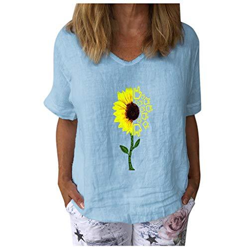 Damen Tops Casual Kurzarm T-Shirt mit Sonnenblumenmuster und V-Ausschnitt Baumwolle Leinen Lose Tunika Bluse(XXXL,Hellblau)