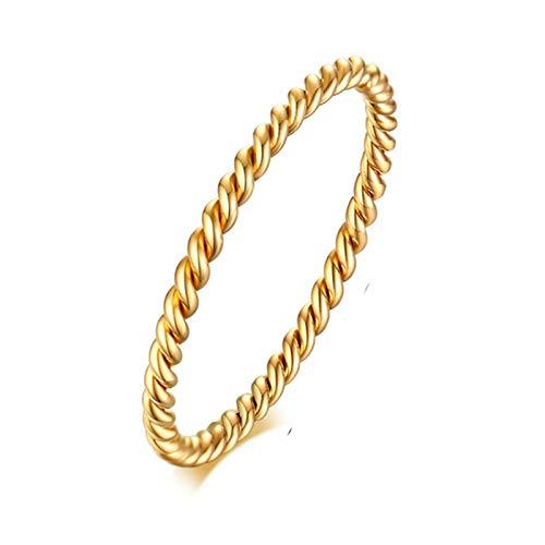 Banemi Nordischer Ring Damen, Titan Ringe Damen Einfach Verdreht Gold Damen Hochzeitsbänder Größe 49 (15.6)