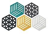 TAZALI Filzuntersetzer – Moderne Esszimmer Deko – Hexagon mit 8,5cm Durchmesser – 5-teiliges Glas Untersetzer-Set bestehend aus 5 Farben – auch ideal als Teller Untersetzer nutzbar (Frische Set)