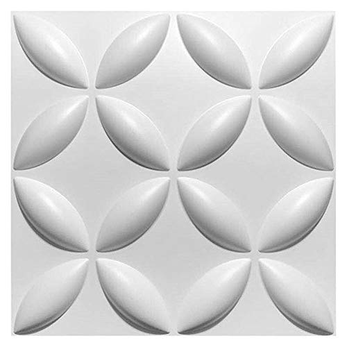 Dekorative 3D Wandpaneele Strukturierter 3D Wandverkleidung, für TV-Hintergrund (10 Fliesen, weiß)