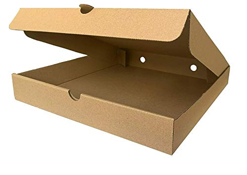We Can Source It Ltd - Cajas para pizza para llevar - Diseño de flauta en papel kraft marrón liso - Totalmente compostable y reciclable 18 cm - Paquete de 25