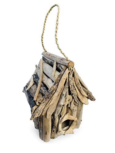 Maisonica Rustikales Vogelhaus zum Aufhängen, quadratisch, Treibholz, 30 cm