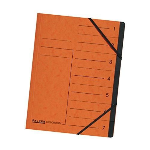 Original Falken Premium Ordnungsmappe. Made in Germany. Aus extra starkem Colorspan-Karton DIN A4 7 Fächer und 2 Gummizüge mit Organisationsdruck orange Ringmappe Register-Mappe