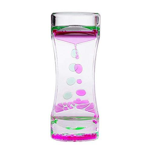 FUNRE 1pcs Doppel Farbe Sand Hourglasses Schwimmölflüssigkeit Visuelle Bewegungstimer Glas Acryl-Taktgeber-Ausgangsdekoration Schreibtisch Ornament (Color : Pink Green)