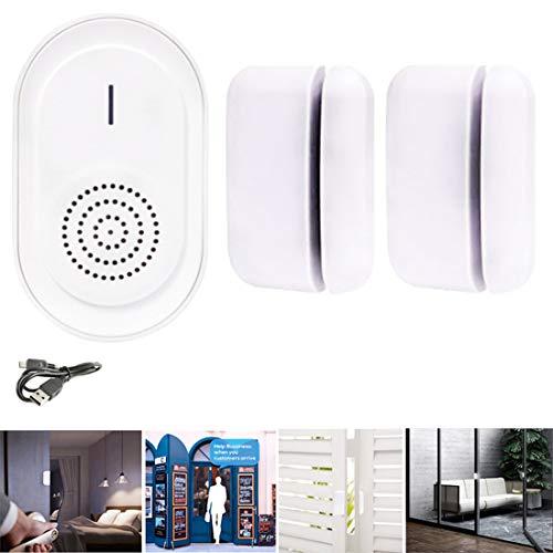 Sensor Magnético Ventana/Timbre Inalámbrico Puerta/Alarma de Hogar con Receptor Recargable
