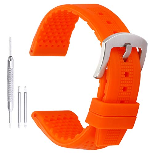 AUTULET Bandas mm Moda Relojes de silicona reloj pulsera de goma perforada para Mujer dieciséis Naranja