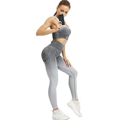 BKHBJ HA 2ST Yoga Set Frauen-Nahtlose Sport Set Workout Fitness Gym Sportswear Yoga Sport-BH Gamaschen Laufen Sports Set (Color : Gray, Size : XL)