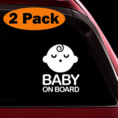 TOTOMO # ALI-026 (Juego de 2) Etiqueta adhesiva de bebé a bordo Señal de precaución de seguridad para ventanas de automóvil - Seeling Baby Boy