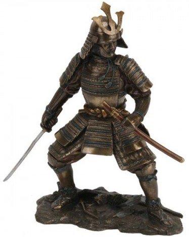 Bronzefigur, poliert, Kampfbereiter Samurai
