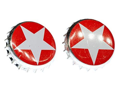 Miniblings Kronkorken Sterni Manschettenknöpfe Knöpfe + Box Bier roter Stern - Herrenschmuck Manschettenknopf Cufflinks Hemdknöpfe I Holzbox inklusive