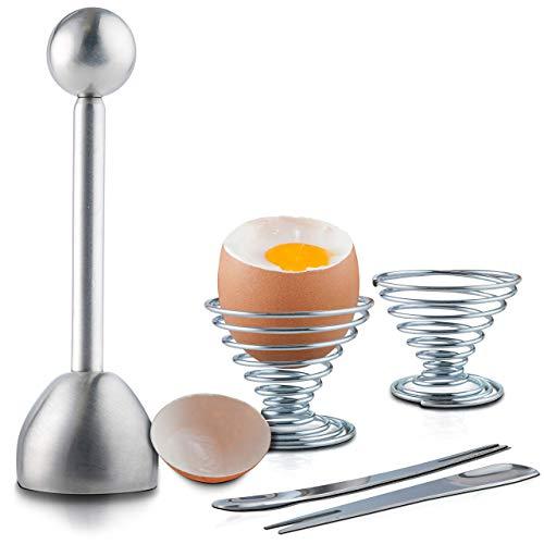 Joeji's Kitchen Eierköpfer Edelstahl Sollbruchstelle Eieröffner für hart/weich gekochte Eier inkl. Extra Küchenzubehör (2 Eierbecher und 2 Löffel)