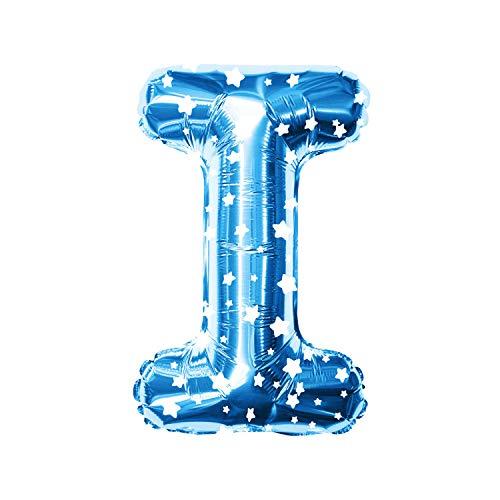 Oblique Unique® Folien Luftballon alle Buchstaben Alphabet ABC Herz Stern in Blau mit weißen Sternen für Kinder Geburtstag JGA Baby Shower Party Deko Folienballon - wählbar (Buchstabe I)