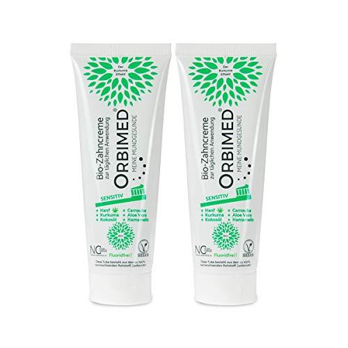 ORBIMED Bio-Zahncreme SENSITIV (2x75ml), minzig-süßlicher Geschmack, Bio Zahnpasta, Vegan, Fluoridfrei, bei homöopathischer Behandlung, Naturkosmetik