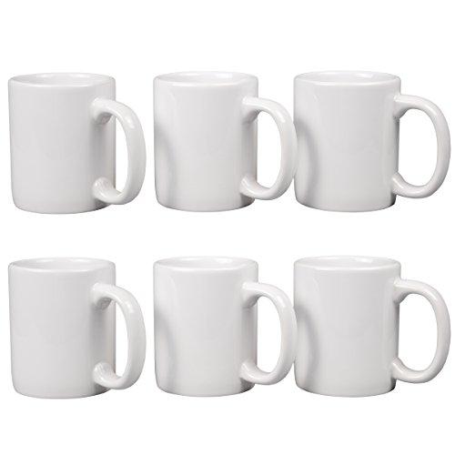"""Creative home set of 6 pieces ceramic coffee mug tea cup, 3-1/4"""" diam. X 4"""" h, white"""