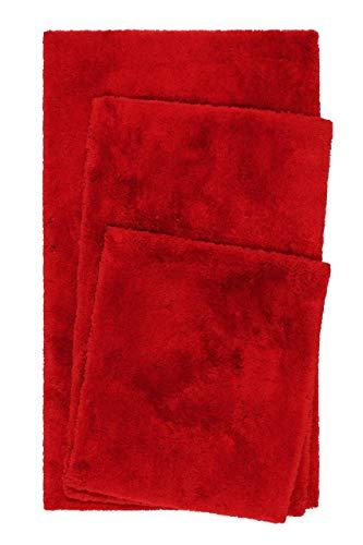 Homie Living Badteppich, Badematte kuscheliger Flauschiger weicher Flor l rutschfest und Waschbar Porto Azzurro (60 x 100 cm, Rot)