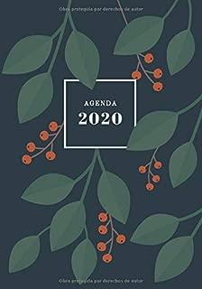 Agenda 2020: Agenda Semanal Vertical   Tamaño Medio   Planificador Semanal y Mensual con Habit Tracker   Diseño de Hojas de Otoño