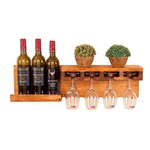 Wine Shelf Wall Mount Pine Wood Unit Floating Shelves 3 Wine Bottle | Glass Rack | Shelf Holder Wine Stand | Goblet Holder Hanging 4 Wine Glass Shelf for Restaurants, Bars, Daily Home 70x13x18cm