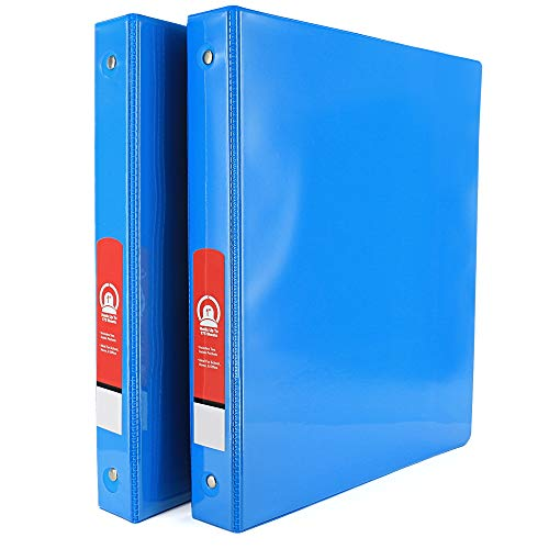 """Emraw Super Great 1"""" 3-Ring View Binder with 2-Pockets - Available in Cyan - Great for School, Home, & Office (2-Pack)"""