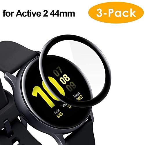 CAVN Pellicola Protettiva Compatibile con Samsung Galaxy Watch Active 2 44mm Proteggi Schermo [3-Pezzi], 3D Curvo Pellicola Protettiva per Schermo Copertura Completa Anti-graffio (Non per Active 1)