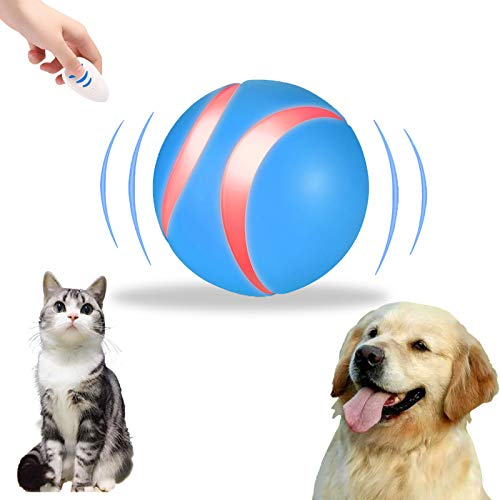 Smart Interactive Pets Ball Automatic Rolling Ball Toys for Dogs/Cats Remote Control Pet Toy Ball with USB Rechargeable Exercise Chaser Ball with RGB LED Light