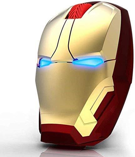 Ratón inalámbrico ergonómico, diseño de Iron Man, 2,4 G, ratón portátil con receptor nano USB, para portátil, ordenador de sobremesa, MacBook, responde hasta 10 m 10 m.