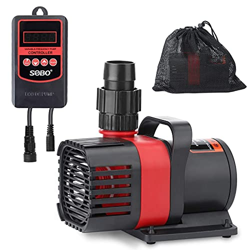 SWETOR DC Pond Pump, Aquarium Pump ,Fountain Pump 1600GPH with 18ft High Lift and 15.7ft Power Cord,Submersible or External Installation. (With Pump Barrier Bag) (SF-6000)
