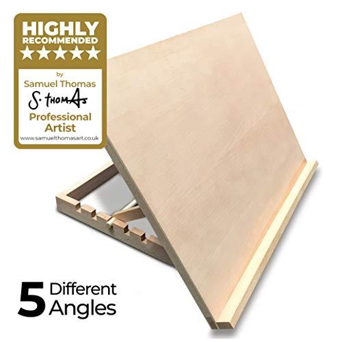 Atril/mesa/caballete para escritorio de madera ajustable tamaño A3 para trabajos de arte y artesanía de PABLO