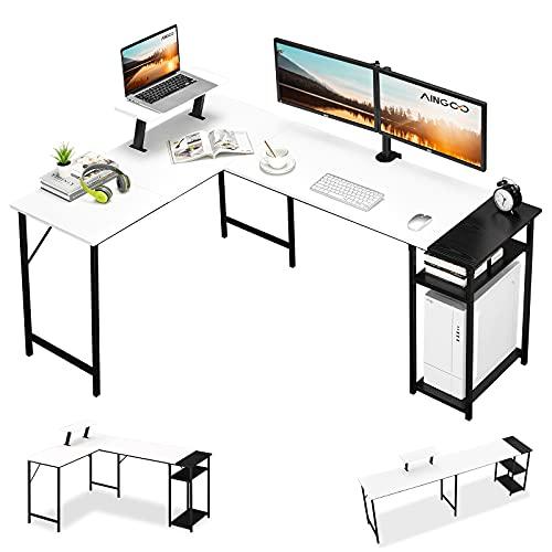 Aingoo Corner Desk with Shelves L Shaped Desk for Home Office, Corner Computer Desk or 2 Person Long 240CM Table Workstation,Sturdy Gaming Desk,168 * 120 * 75cm,White - Black