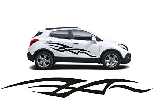 XXL 2x Autoaufkleber Seitenaufkleber Truck LKW Aufkleber Car Design Tribal Shocker Future 220cm schwarz