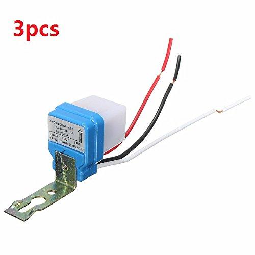 RoXane 3 Pcs Ac 220V 10A Automatique Automatique Sur Arrêt Street Light Switch Photo Control Sensor