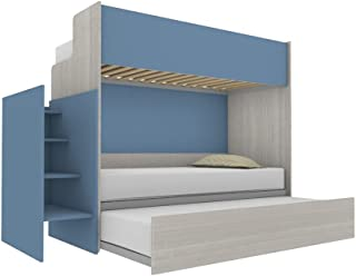 Woody Lit superposé fonctionnel design avec troisième lit amovible et relevable 80 x 190 cm. Échelle de rangement incluse....