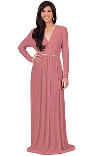 KOH KOH Plus Size Womens Long Sleeve Sleeves Kaftan V-Neck Flowy Formal Wedding Guest Fall Winter Evening Day Empire Waist Abaya Muslim Gown Gowns Maxi Dress Dresses, Cinnamon Rose Pink 3XL 22-24