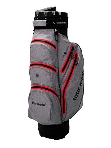 tour made Waterproof Wasserdicht WP14TEX V2 Organizer Trolleybag Cart Bag Golftasche Golfbag Modell 2020 (grau-rot)