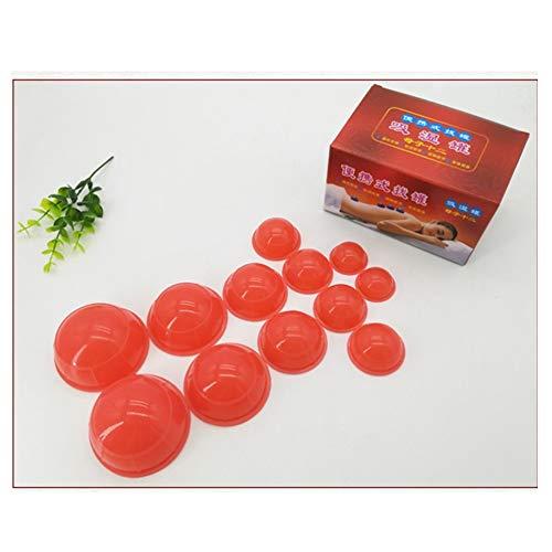 Kit de massage sous vide de 12 pièces, tasses en silicone anti-cellulite, ensemble de traitement pour ventouses pour soins de santé à domicile,Red