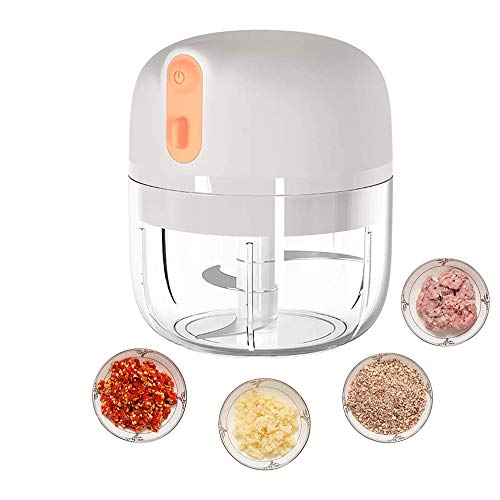 Food Processor, Food Processors Best Rated, Wireless Electric Mini Food Chopper 250ML, Portable Waterproof Garlic Press Chopper with USB Charging, Powerful Small Food Processor Garlic Masher.