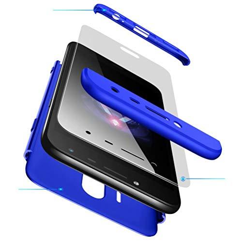 AILZH Funda movil Compatibles para Samsung Galaxy J5 2017 carcasa+[Cristal templado]360 grados Caja protección de cáscara dura Anti-Shock Caso mate bumper Antichoque case cover(Azul)