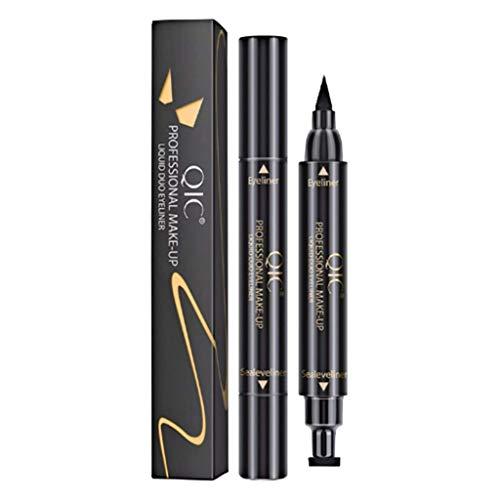 Eyeliner Tampon 2en1 Imperméable, Eyeliner Liquide Noir Waterproof, Eye Liner Stamp Longue Durée, eyeliner stylo tampon de maquillage double tête pour maquillage