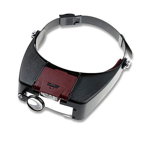 FZYQY Gafas Lupa con Luz 2 LED Iluminado, 4 Lentes Reemplazables(1.5X 3X 6.5X 8X) para Leer,de Reparación Relojes,Costura,Manualidades