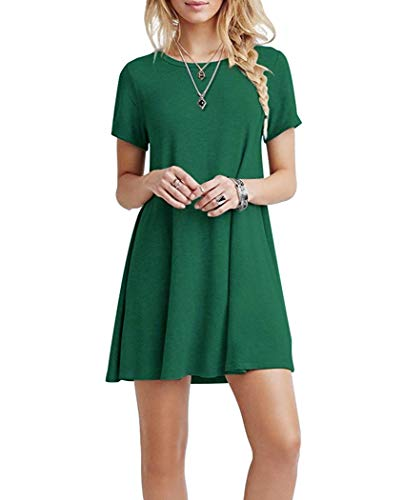 Falechay Sukienka damska, letnia tunika, sukienka na czas wolny, oddychająca, okrągły dekolt, z krótkim rękawem, do kolan, sukienka T-shirtowa